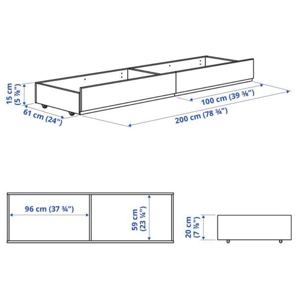 ХАУГА Кроватный ящик с обивкой, Висле серый 200 см - 105.063.15