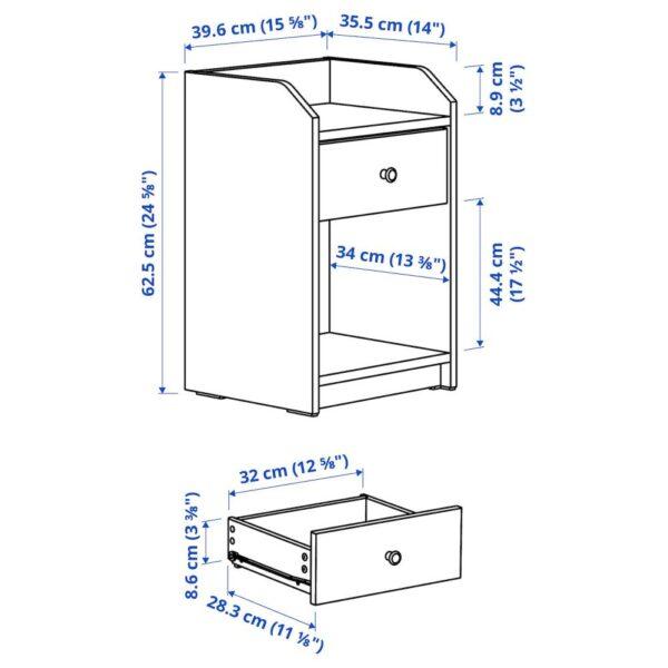 ХАУГА Тумба прикроватная, серый 40x36 см - 204.889.62