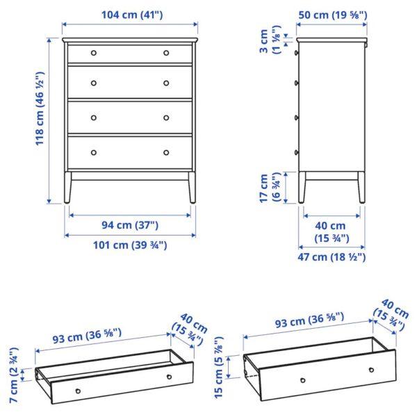 ИДАНЭС Комод с 4 ящиками, белый 104x118 см - 304.587.71