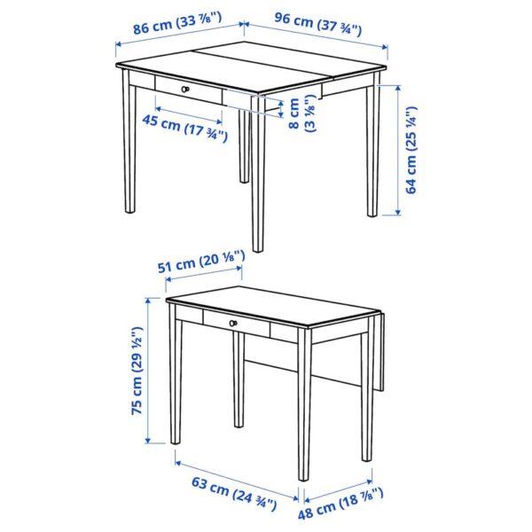 ИДАНЭС Стол с откидной полой, белый 51/86x96 см - 404.876.50