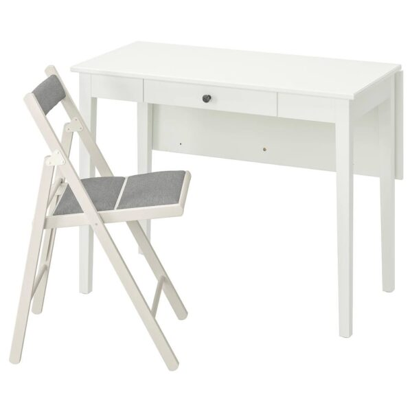 ИДАНЭС / TERJE ТЕРЬЕ Стол и 1 стул, белый/Книса светло-серый - 293.887.55
