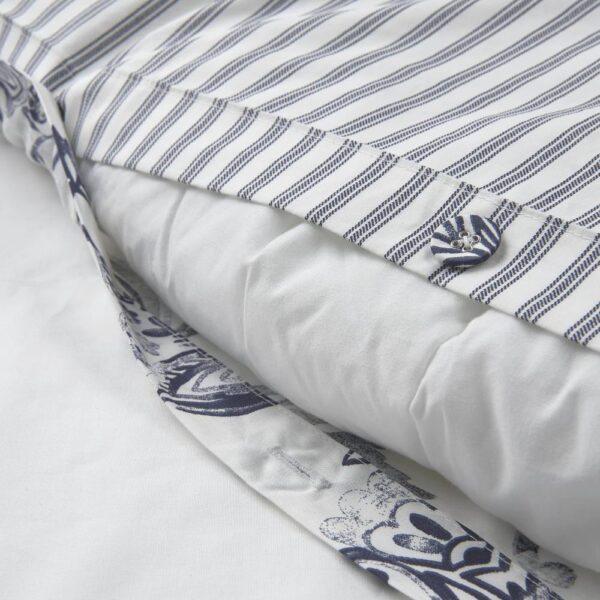 ЮНИМАГНОЛИЯ Пододеяльник и 2 наволочки, белый/темно-синий 200x200/50x70 см - 104.932.71