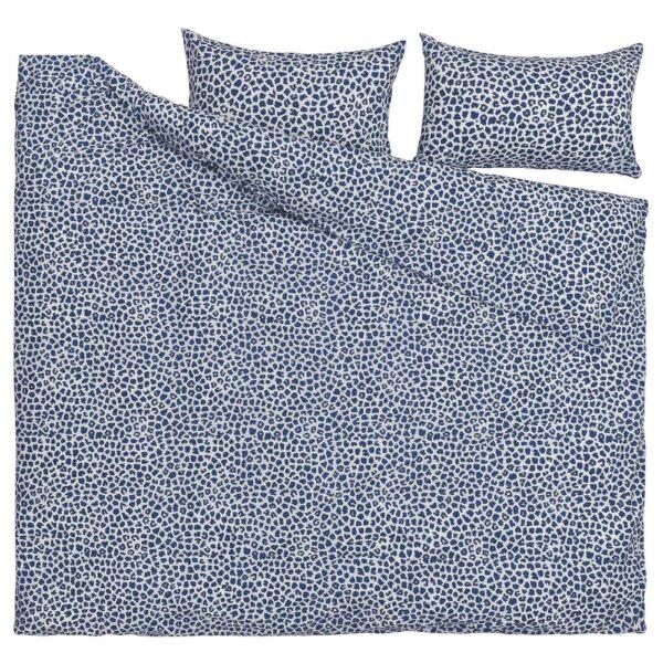 КВАСТФИББЛА Пододеяльник и 2 наволочки, белый/темно-синий 200x200/50x70 см - 104.931.72