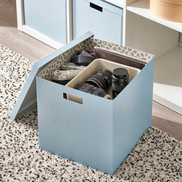 ТЬЕНА Коробка с крышкой, синий 32x35x32 см - 604.953.76