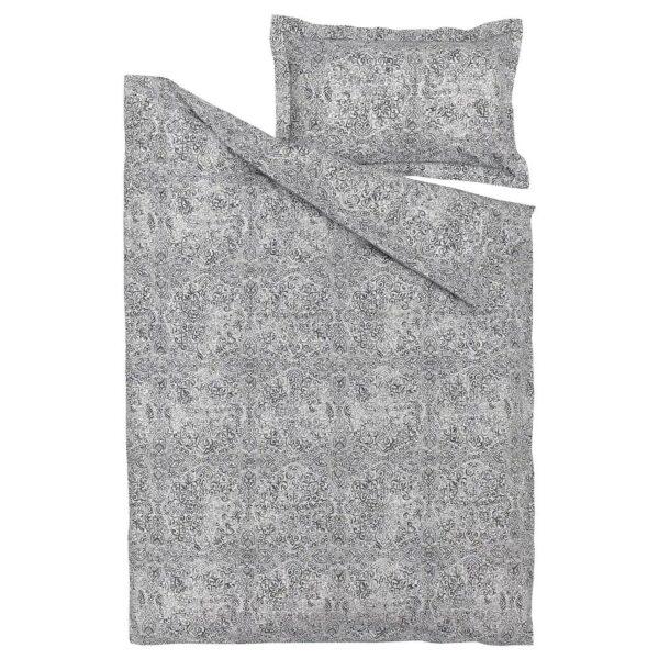 ЭНГСКЛОККА Пододеяльник и наволочка, белый/серый 150x200/50x70 см - 604.933.15