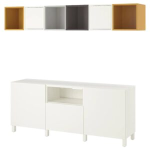 БЕСТО / ЭКЕТ Комбинация для ТВ, белый светло-серый/темно-серый/золотисто-коричневый 210x40x220 см - 994.397.23