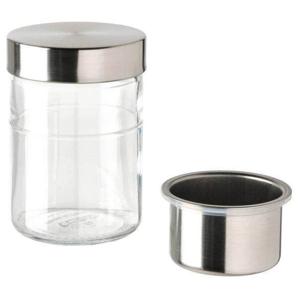 ДАГКЛАР Банка с вставкой, прозрачное стекло/нержавеющ сталь 0.4 л - 704.972.14