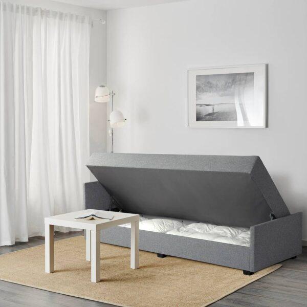 НЭРСНЕС Кровать-кушетка, Сандсбру серый 80x200 см - 105.186.48