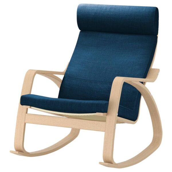 ПОЭНГ Кресло-качалка, дубовый шпон, беленый/Шифтебу темно-синий - 193.987.74