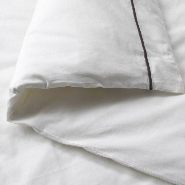 СИЛВЕРТИСТЕЛЬ Пододеяльник и 2 наволочки, белый/темно-серый 200x200/50x70 см - 804.929.56
