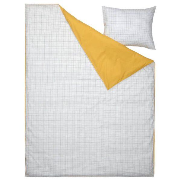 ВЭНКРЕТС Пододеяльник и наволочка, клетчатый орнамент белый/желтый 150x200/50x70 см - 705.079.39