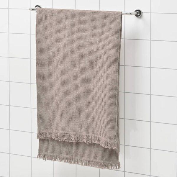 ВАЛЛАСОН Простыня банная, светло-серый/коричневый 100x150 см - 005.021.29