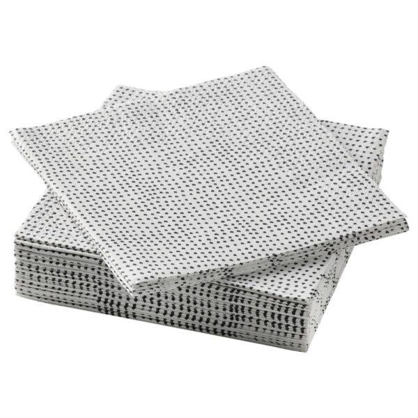 ВИНТЕРСНЁ Салфетка бумажная, точечный/черный 24x24 см - 905.110.49