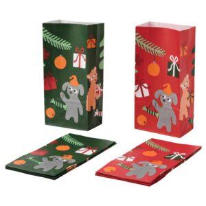 ВИНТЕР 2021 Бумажный пакет, анималистический орнамент зеленый/красный 12x24 см - 104.996.16