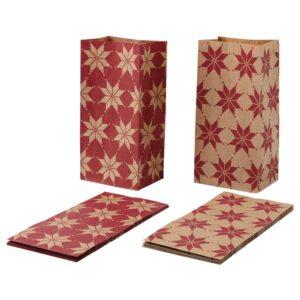 ВИНТЕР 2021 Бумажный пакет, орнамент «звезды» красный/коричневый 15x30 см - 004.996.12