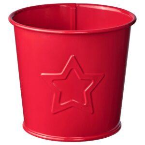 ВИНТЕР 2021 Кашпо, орнамент «звезды» красный 9 см - 604.983.94