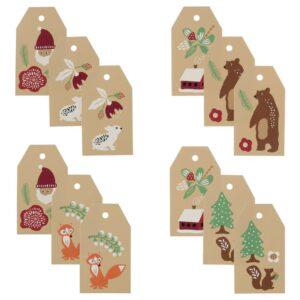 ВИНТЕР 2021 Ярлыки д/подарков, орнамент «Санта Клаус» бежевый - 804.994.39